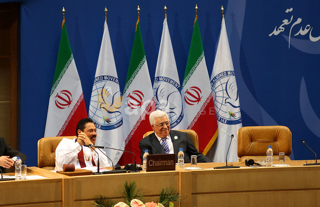 Palestinian President  Mahmoud Abbas  attends the opening ceremony of the Summit of the Non-Aligned  Movement (NAM), in Tehran, 30 August 2012. Iranian Supreme Leader Ayatollah Ali Khamenei opened  summit 16th of the Non-Aligned Movement (NAM) summit agenda of the two-day  attended by dozens of leaders from the 120 NAM member states. Photo by Thaer Ganaim
