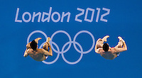 30 JUL 2012 - LONDON, GBR - Nicholas McCrory (USA) and David Boudia (USA) of the USA diving during the Mens 10m Synchronised Diving at the London 2012 Olympic Games event in the Aquatics Centre in the Olympic Park, Stratford, London, Great Britain .(PHOTO (C) 2012 NIGEL FARROW)