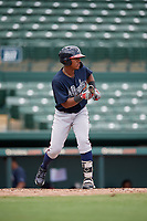 GCL Braves Brandol Mezquita (39) squares to bunt during a Gulf Coast League game against the GCL Orioles on August 5, 2019 at Ed Smith Stadium in Sarasota, Florida.  GCL Orioles defeated the GCL Braves 4-3 in the second game of a doubleheader.  (Mike Janes/Four Seam Images)