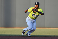 Shortstop Luis Carpio (11) of the Columbia Fireflies plays defense in a game against the Augusta GreenJackets on Saturday, July 29, 2017, at Spirit Communications Park in Columbia, South Carolina. Columbia won, 3-0. (Tom Priddy/Four Seam Images)