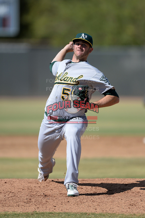 Oakland Athletics pitcher Bobby Wahl (58) during an Instructional League game against the Milwaukee Brewers on October 10, 2013 at Maryvale Baseball Park Training Complex in Phoenix, Arizona.  (Mike Janes/Four Seam Images)