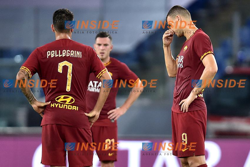 Lorenzo Pellegrini and Edin Dzeko of AS Roma look dejected after the second goal of Atalanta <br /> Roma 25-9-2019 Stadio Olimpico <br /> Football Serie A 2019/2020 <br /> AS Roma - Atalanta Bergamasca Calcio <br /> Foto Andrea Staccioli / Insidefoto