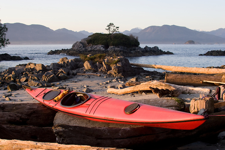 Sea Kayak, Mariner II, Seattle- designed sea kayak by Mariner Kayaks, Matt and Cam Broze, photographed at the Broken Islands, Clarke Island, Pacific Rim National Park, Barkley Sound, Vancouver Island, British Columbia, Canada,