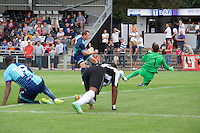 Garry Thompson of Wycombe Wanderers scores the equaliser during the Friendly match between Maidenhead United and Wycombe Wanderers at York Road, Maidenhead, England on 30 July 2016. Photo by Alan  Stanford PRiME Media Images.