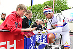 British National Champion Adam Blythe (GBR) Aqua Blue Sport at sign on before the start of Stage 2 of the Tour de Yorkshire 2017 running 122.5km from Tadcaster to Harrogate, England. 29th April 2017. <br /> Picture: ASO/A.Broadway | Cyclefile<br /> <br /> <br /> All photos usage must carry mandatory copyright credit (&copy; Cyclefile | ASO/A.Broadway)