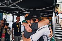 Picture by Russell Ellis/russellis.co.uk/SWpix.com - image archived on 25/04/2019 Cycling Tour de France 2018 - Team Sky at the Tour de France - STAGE 20: SAINT-PÉE-SUR-NIVELLE - ESPELETTE 28/07/2018 ITT Individual Time Trial<br /> - Geraint Thomas with Dave Brailsford
