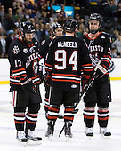 Steve Silva (Northeastern - 17), Tyler McNeely (Northeastern - 94), Brodie Reid (Northeastern - 15) - The Boston College Eagles defeated the Northeastern University Huskies 5-4 in their Hockey East Semi-Final on Friday, March 18, 2011, at TD Garden in Boston, Massachusetts.