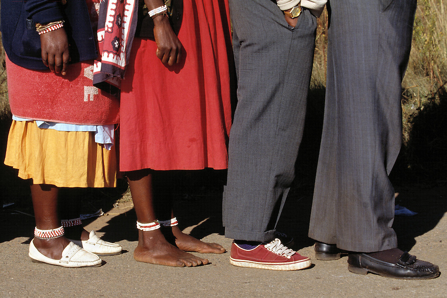 Voters line up outside a polling station.   Millions of South Africans voted in the nation's first free and democratic general election,  marking the end of centuries of apartheid rule.  Nelson Mandela of the African National Congress (ANC) was elected as the first black President of South Africa..