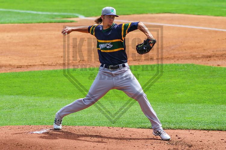 APPLETON - August 2014: Hunter Adkins (18) of the Beloit Snappers during a game against the Wisconsin Timber Rattlers on August 26th, 2014 at Fox Cities Stadium in Appleton, Wisconsin.  (Photo Credit: Brad Krause)