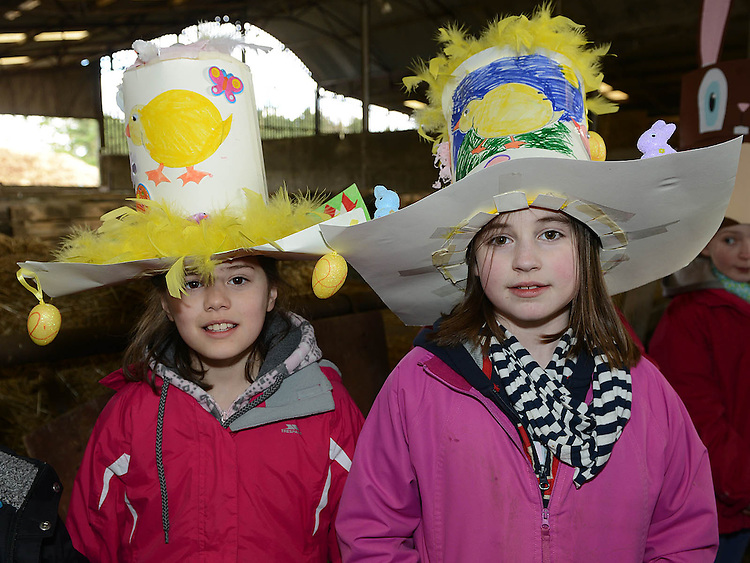 Lydia Silalahi and Emily Ormsby who took part in the Easter bonnet competition at Newgrange Farm. Photo:Colin Bell/pressphotos.ie