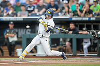 Michigan Wolverines outfielder Jesse Franklin (7) swings the bat against the Vanderbilt Commodores during Game 2 of the NCAA College World Series Finals on June 25, 2019 at TD Ameritrade Park in Omaha, Nebraska. Vanderbilt defeated Michigan 4-1. (Andrew Woolley/Four Seam Images)