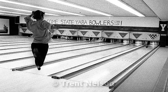 Sue Quayle bowling at Regal Lanes<br />