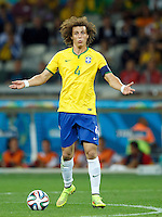 David Luiz of Brazil looks frustrated