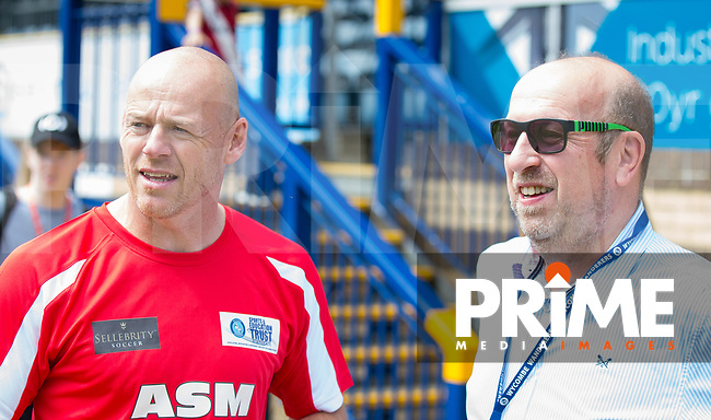 Ex Wycombe player Keith Ryan with current Wycombe Chairman Trevor Stroud pre match during the Sellebrity Soccer match for Wycombe Sports & Education Trust at Wycombe Wanderers, Adams Park, High Wycombe, England on 28 May 2018. Photo by Andy Rowland.