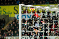 Vito Mannone of Sunderland fumbles the ball during the Barclays Premier League match between Swansea City and Sunderland played at the Liberty Stadium, Swansea  on  January the 13th 2016