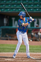 Dillon Paulson (14) of the Ogden Raptors bats against the Idaho Falls Chukars at Lindquist Field on July 29, 2018 in Ogden, Utah. The Raptors defeated the Chukars 20-19. (Stephen Smith/Four Seam Images)