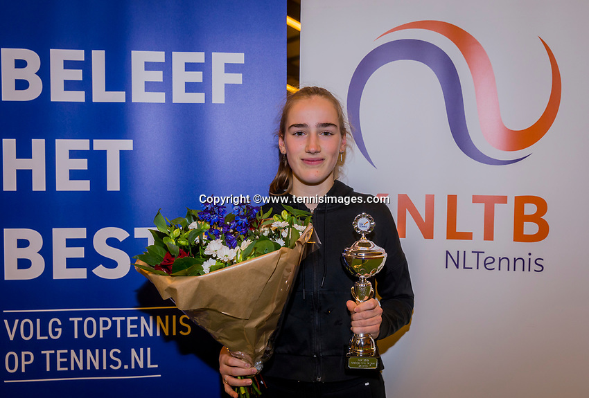 Wateringen, The Netherlands, December 8,  2019, De Rhijenhof , NOJK juniors 14 and18 years, Finals 14 years: Runner up girls 14 years Annelin Bakker (NED)<br /> Photo: www.tennisimages.com/Henk Koster