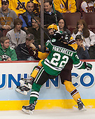 Andrew Panzarella (North Dakota - 22), Justin Holl (MN - 12) - The University of Minnesota Golden Gophers defeated the University of North Dakota 2-1 on Thursday, April 10, 2014, at the Wells Fargo Center in Philadelphia to advance to the Frozen Four final.