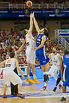 Spain's Pau Gasol and Great Britain's Joel Freeland during friendly match.July 9,2012.(ALTERPHOTOS/Ricky)