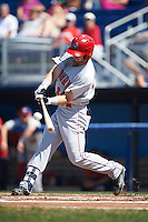 Auburn Doubledays left fielder Nick Banks (34) makes contact at bat during a game against the Batavia Muckdogs on September 5, 2016 at Dwyer Stadium in Batavia, New York.  Batavia defeated Auburn 4-3. (Mike Janes/Four Seam Images)