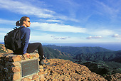 Hiker, Inspiration Point, Backbone Trail, Santa Monica Mountains National Recreation Area, California (MR)