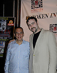 """actor Gilbert Gottfried starred in Rock Story directed by Dylan Bank (R) who was the host on closing night at Hoboken International Film Festival - Closing Night June 5, 2014  at the Paramount Theatre, Middletown, New York. - Opening night party and ceremony and Opening Night world-wide Premiere of Star-Filled Film """"Rock Story"""", a rock n'roller coaster drama/mystery starring Mandy Bruno, Robert Bogue and more.  (Photo by Sue Coflin/Max Photos)"""