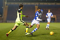 Mikael Mandron of Colchester United tries to get inside Craig Woodman of Exeter City during Colchester United vs Exeter City, Sky Bet EFL League 2 Football at the JobServe Community Stadium on 24th November 2018