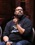 """James Monroe Iglehart from the 'Hamilton' cast during the Q&A before The Rockefeller Foundation and The Gilder Lehrman Institute of American History sponsored High School student #EduHam matinee performance of """"Hamilton"""" at the Richard Rodgers Theatre on June 7, 2017 in New York City."""