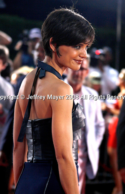 "Actress Katie Holmes arrives at the Los Angeles Premiere Of ""Tropic Thunder"" at the Mann's Village Theater on August 11, 2008 in Los Angeles, California."