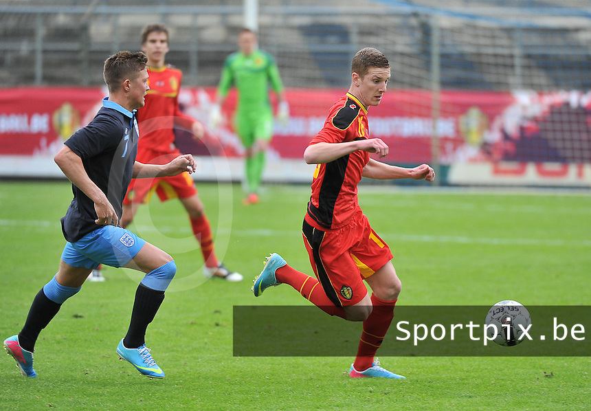 Belgium U19 - England U19 : Maximilian Clayton (7) and Gianni De Neve (16).foto DAVID CATRY / Nikonpro.be