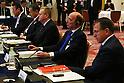 (L-R) Yoshitaka Sakurada, Yoshiro Mori, John Coates IOC Vice President, Alex Gilady IOC member, Gilbert Felli IOC Executive Director for the Olympic Games, April 3, 2014 : 1st IOC project Review was held at Shinagawa Prince Hotel in Tokyo, Japan. (Photo by AFLO SPORT)