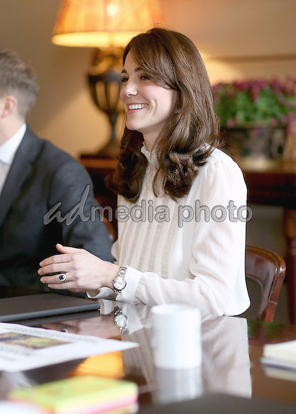 17 February 2016 - London, England - Kate Duchess of Cambridge Catherine Katherine Middleton in the 'News Room' at Kensington Palace in London. The Duchess of Cambridge is supporting the launch of the Huffington Post UK's initiative 'Young Minds Matter' by guest editing the Huffington Post UK today from Kensington Palace. Photo Credit: Alpha Press/AdMedia