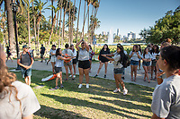Incoming Occidental College first-year students explore the neighborhood around the Los Angeles neighborhood of Echo Park as part of OxyEngage - California Coasts on Aug. 22, 2017.<br /> OxyEngage is a pre-orientation program that introduces incoming students to the vibrant city of Los Angeles. Over two days, upperclassmen facilitators lead trips to experience culture, film, food, nature, social justice, the urban environment, and much more! On an OxyEngage trip you will make fast friends, get to know your surrounding area, and find some stunning places you will want to return to time and time again.<br /> (Photo by Marc Campos, Occidental College Photographer)