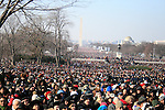 Spectators watch during the inauguration of Barack Obama as 44th President of the United States of America, Tuesday, Jan. 20, 2009, in Washington, D.C. (Marisa McGrody/pressphotointl.com)