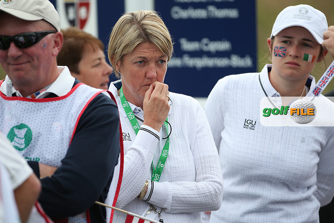 Helen Hewett Manager for GB&amp;I during Friday Foursomes at the 2016 Curtis Cup, played at Dun Laoghaire GC, Enniskerry, Co Wicklow, Ireland. 10/06/2016. Picture: David Lloyd | Golffile. <br /> <br /> All photo usage must display a mandatory copyright credit to &copy; Golffile | David Lloyd.