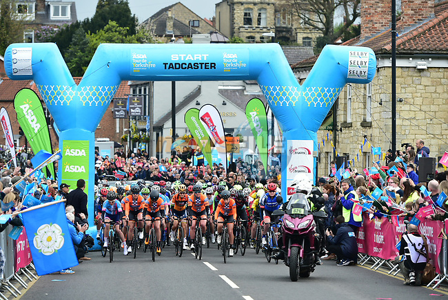 The start of the ASDA Women's Tour de Yorkshire 2017 running 122.5km from Tadcaster to Harrogate, England. 29th April 2017. <br /> Picture: ASO/P.Ballet | Cyclefile<br /> <br /> <br /> All photos usage must carry mandatory copyright credit (&copy; Cyclefile | ASO/P.Ballet)