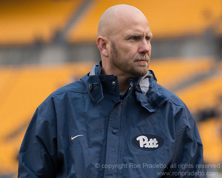 Pitt offensive coordinator Matt Canada. The Pitt Panthers defeated the Syracuse Orange 76-61 at Heinz Field in Pittsburgh, Pennsylvania on November 26, 2016.