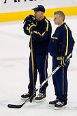 Red Berenson (Michigan Head Coach) and Billy Powers (Michigan Assistant Coach) take part in the Wolverines' morning skate at the Xcel Energy Center in St. Paul, Minnesota, on Friday, October 12, 2007, during the Ice Breaker Invitational.
