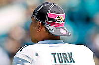 October 02, 2011:   Jacksonville Jaguars punter Matt Turk (1) wears the NFL Breast Cancer Awareness cap before the start of action between the Jacksonville Jaguars and the New Orleans Saints at EverBank Field in Jacksonville, Florida.  New Orleans defeated Jacksonville 23-10.........