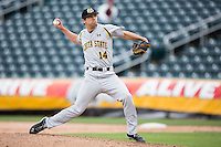 Foster Vielock #14 of the Wichita State Shockers delivers a pitch during a game against the Missouri State Bears at Hammons Field on May 5, 2013 in Springfield, Missouri. (David Welker/Four Seam Images)