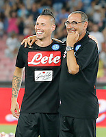 Marek Hamsik and Maurizio Sarri before the friendly soccer match,between SSC Napoli and Onc Nice      at  the San  Paolo   stadium in Naples  Italy , August 02, 2016