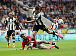 Adam Jackson of Barnsley in action with Aleksandar Mitrovic of Newcastle United  during the EFL Championship match at St James' Park Stadium, Newcastle upon Tyne. Picture date: May 7th, 2017. Pic credit should read: Jamie Tyerman/Sportimage