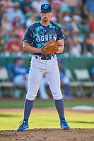 Jeff Belge (31) of the Ogden Raptors looks to first base against the Idaho Falls Chukars at Lindquist Field on August 9, 2019 in Ogden, Utah. The Raptors defeated the Chukars 8-3. (Stephen Smith/Four Seam Images)