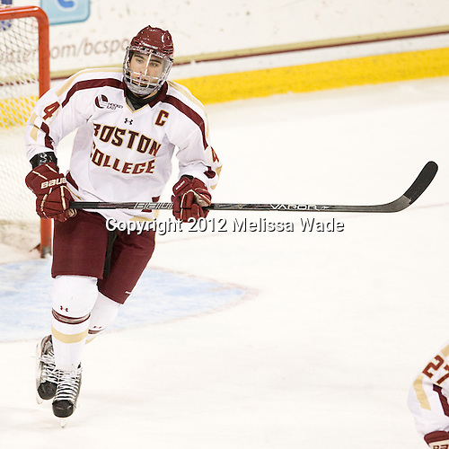 Tommy Cross (BC - 4) - The Boston College Eagles defeated the Providence College Friars 7-0 on Saturday, February 25, 2012, at Kelley Rink at Conte Forum in Chestnut Hill, Massachusetts.