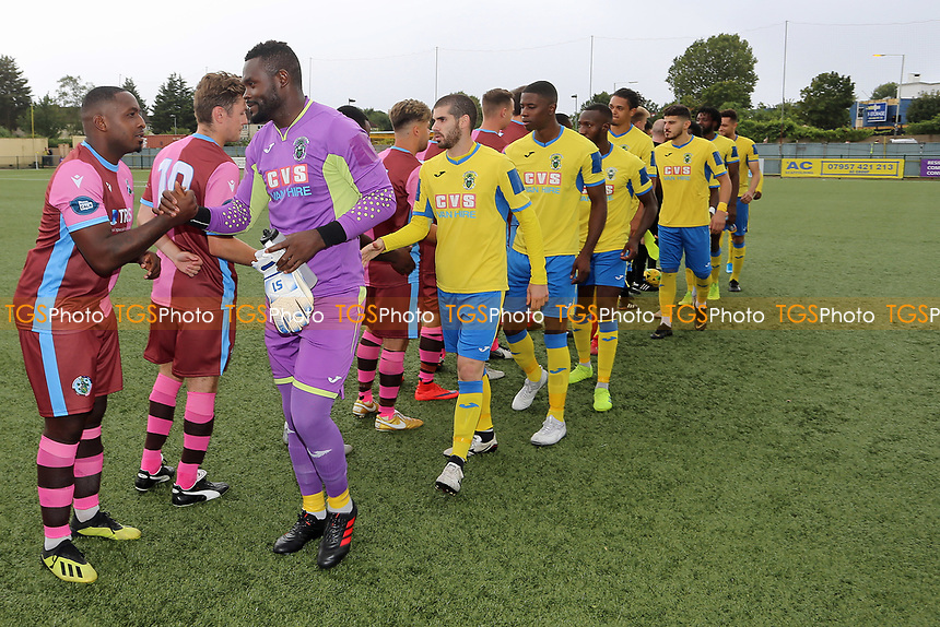 Players exchange respect handshakes during Haringey Borough vs Corinthian Casuals, BetVictor League Premier Division Football at Coles Park Stadium on 10th August 2019