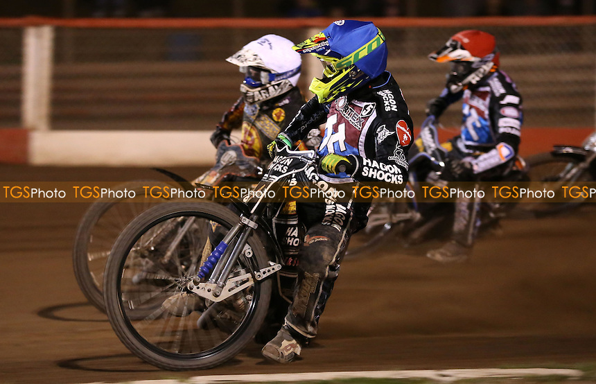 Heat 13: Lewis Bridger (blue), Daniel Nermark (white) and Peter Karlsson (red) - Lakeside Hammers vs Birmingham Brummies, Elite League Speedway at the Arena Essex Raceway, Pufleet - 11/04/14 - MANDATORY CREDIT: Rob Newell/TGSPHOTO - Self billing applies where appropriate - 0845 094 6026 - contact@tgsphoto.co.uk - NO UNPAID USE