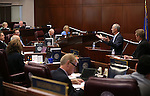Steve Hill, with the Governor's Office of Economic Development, center, answers questions on the Senate floor during the second day of a special session at the Nevada Legislature, in Carson City, Nev., on Thursday, Sept. 11, 2014. Lawmakers are considering a complex deal to bring Tesla Motors to Nevada. (AP Photo/Cathleen Allison)