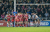 16th March 2018, The AJ Bell Stadium, Salford, England; Betfred Super League rugby, Salford Red Devils versus Hull FC; Salford celebrate their first try scored by Ben Nakuvuwai Salford 8 - Hull FC 8
