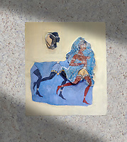 "The Minoan 'Black Captain' fresco wall art from the House of Frescoes, Knossos Palace, 1350-1300 BC . Heraklion Archaeological Museum.<br /> <br /> The fresco probably depicts a running military detachment, the leader is wearing a Minoan loin cloth and holds two spears, he has been named ""Captain of the Blacks"" as those follwing him are probably black African soldiers in sercice of the palace<br /> <br /> This scene may be depicting an excersise or sport similar to the Greek Hoplite race"