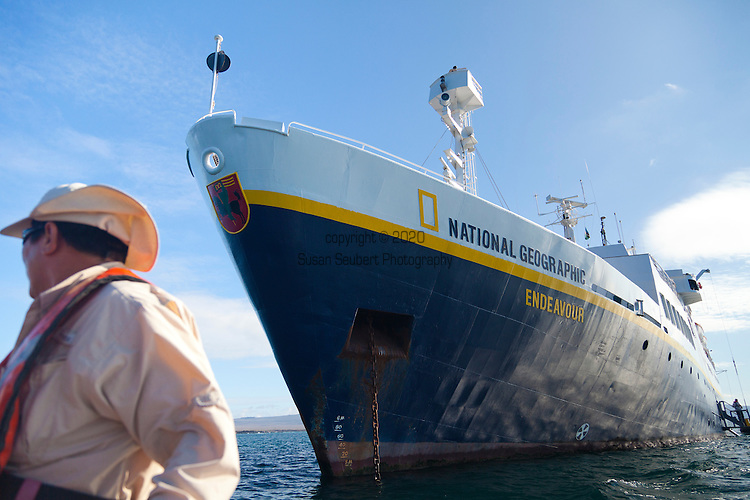 Departing the National Geographic Endeavour via zodiac to visit the island of San Cristobal in the Galapgos National Park, in Ecuador, South America